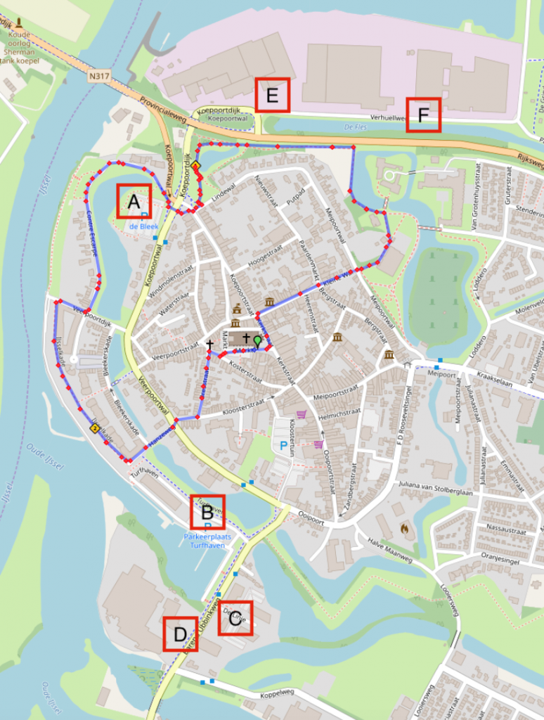 Route City Run en parkeren